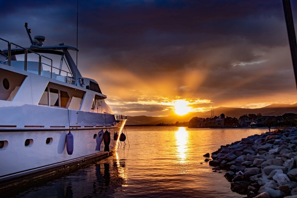 yacht with sunset